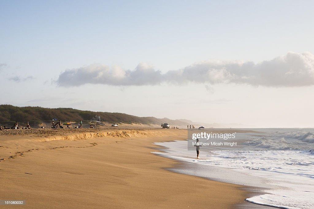 A lone man fishing in the shorebreak. : Stock Photo