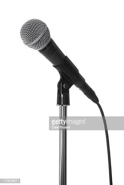 Lone microphone on stand on white