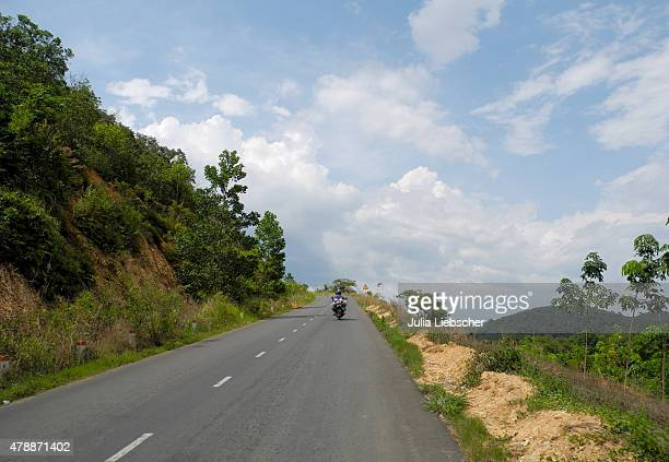 A lone motorcyclist is driving on a road in the Central Highlands on April 25 2015 near Dalat Vietnam The Central Highlands region is vital for the...
