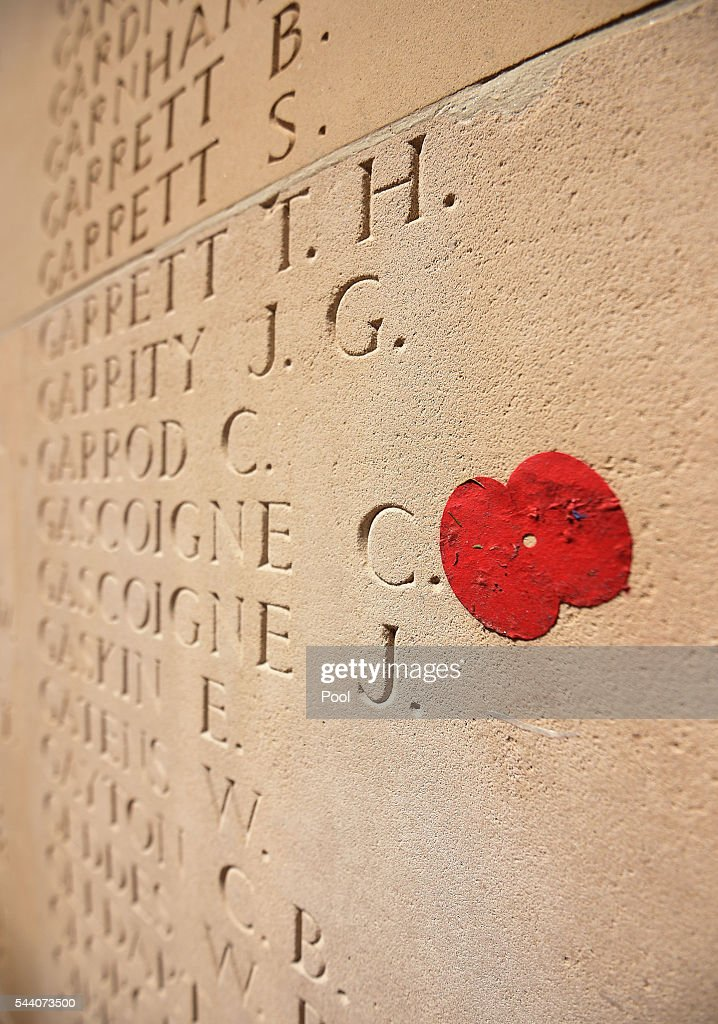 A lone poppy from the poppy drop lies next to names inscribed on the pillars of the Thiepval Memorial after Commemoration of the Centenary of the Battle of the Somme at the Commonwealth War Graves Commission Thiepval Memorial on July 1, 2016 in Thiepval, France. The event is part of the Commemoration of the Centenary of the Battle of the Somme at the Commonwealth War Graves Commission Thiepval Memorial in Thiepval, France, where 70,000 British and Commonwealth soldiers with no known grave are commemorated.