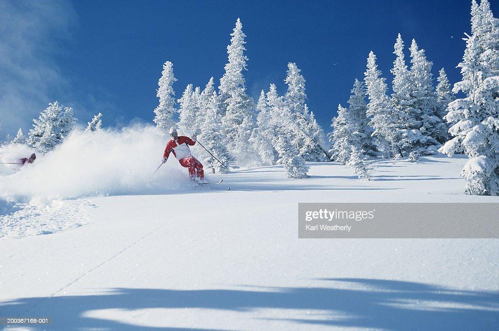 Lone skier riding through powder, British Columbia, Canada
