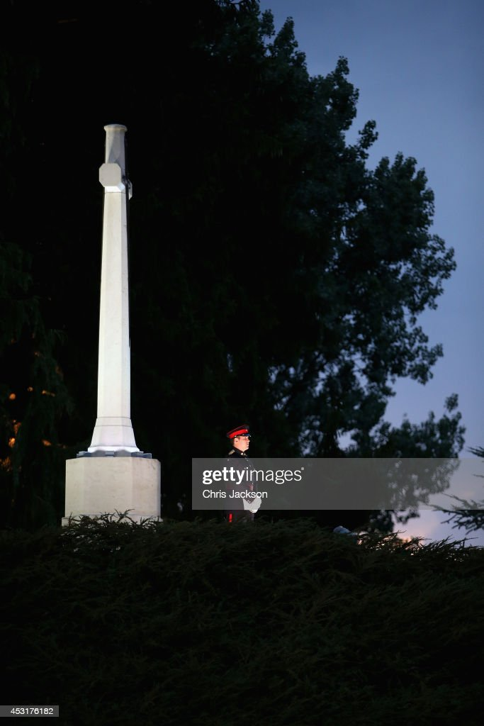 A lone soldier stands under a memorial at St Symphorien Military Cemetery on August 4, 2014 in Mons, Belgium. Monday 4th August marks the 100th Anniversary of Great Britain declaring war on Germany. In 1914 British Prime Minister Herbert Asquith announced at 11pm that Britain was to enter the war after Germany had violated Belgium's neutrality. The First World War or the Great War lasted until 11 November 1918 and is recognised as one of the deadliest historical conflicts with millions of casualties. A series of events commemorating the 100th Anniversary are taking place throughout the day.