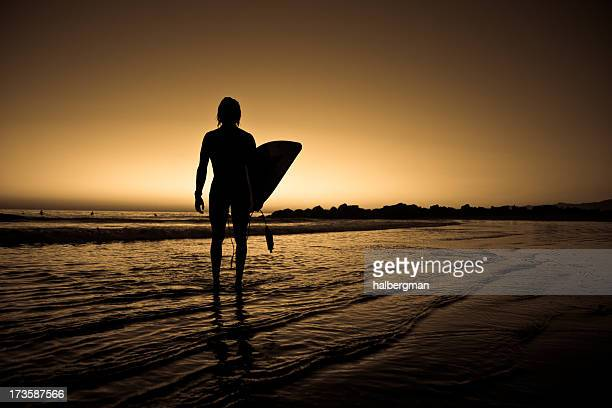 Lone surfer on the beach