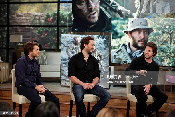 'Lone Survivor' film stars Mark Wahlberg from right Taylor Kitsch Emile Hirsch visit THE TALK Friday January 10 2014 on the CBS Television Network