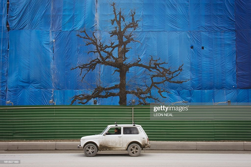 A lone tree rises between a well-used contruction track and the scaffolding cover of an uncompleted building in Krasnaya Polyana a site of Sochi 2014 Olympic venues some 50 km of the Black Sea resort of Sochi, on February 11, 2013. With a year to go until the Sochi 2014 Winter Games, construction work continues as tests events and World Championship competitions are underway.