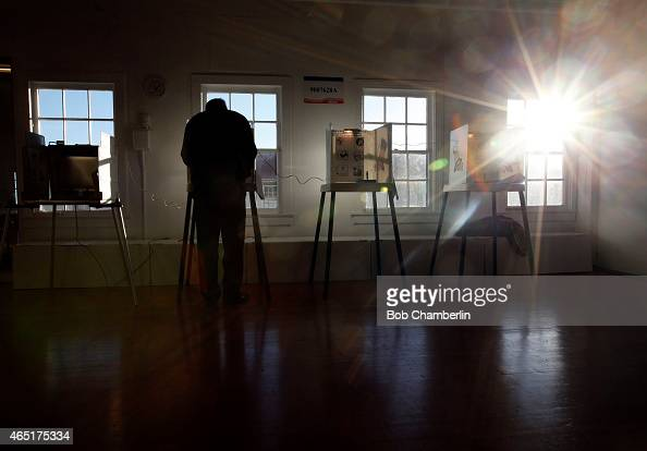 Lone voter Jim McShane is the only one at the Angel's Gate cultural center voting station on March 3 2015 in San Pedro California Polls opened at 7...