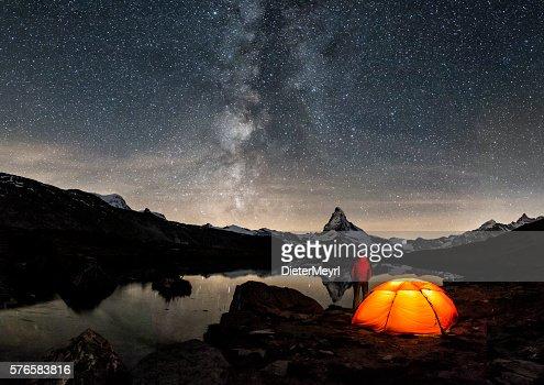 Loneley Camper under Milky Way at Matterhorn