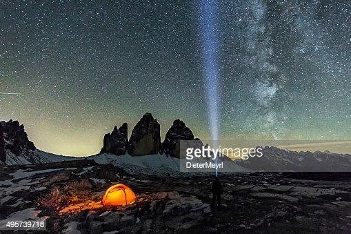 Loneley Camper under Milky Way at the three Pinnacles
