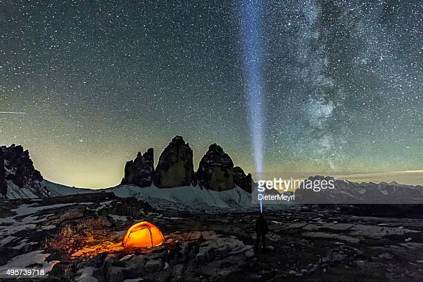Loneley Camper under Milky Way at the three Pinnacles