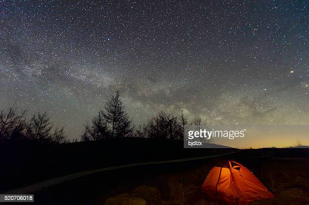 Loneley Camper under Milky Way near the forest