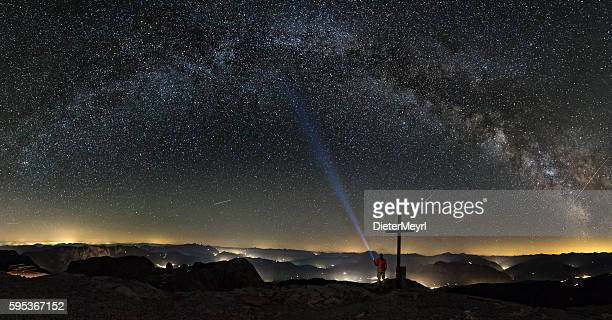 Loneley Man under Milky Way on top of Mount Hochkönig