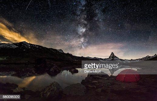 Loneley Tent under Milky Way at Matterhorn
