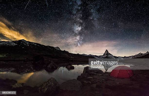 Loneley Tent under Milky Way at Matterhorn