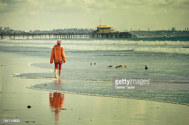 Lonely beach walk