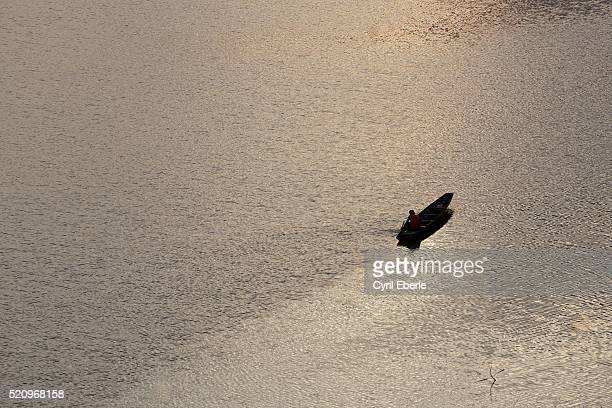 Lonely boat on Mekong river