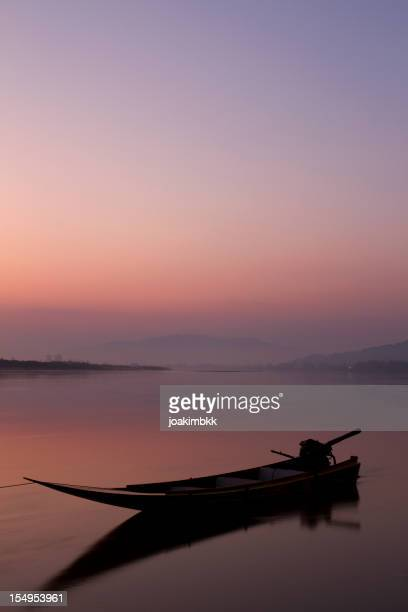 Lonely boat on the Mekong river in Thailand