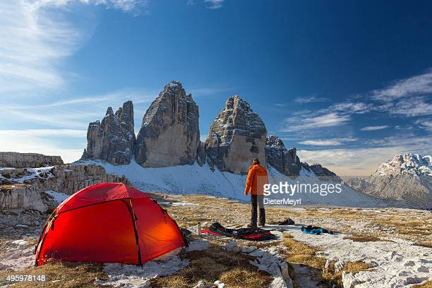 Lonely camper looking at  the three Pinnacles in wintertime