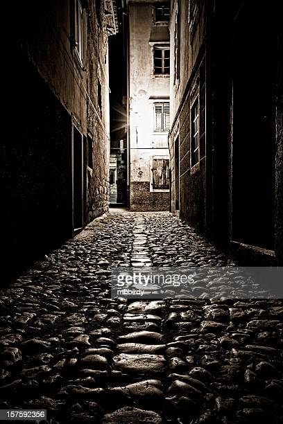 Lonely cobblestoned oscuridad alley