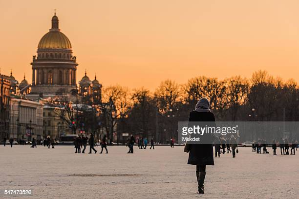 A Lonely Girl in the Winter, Saint Petersburg, Russia