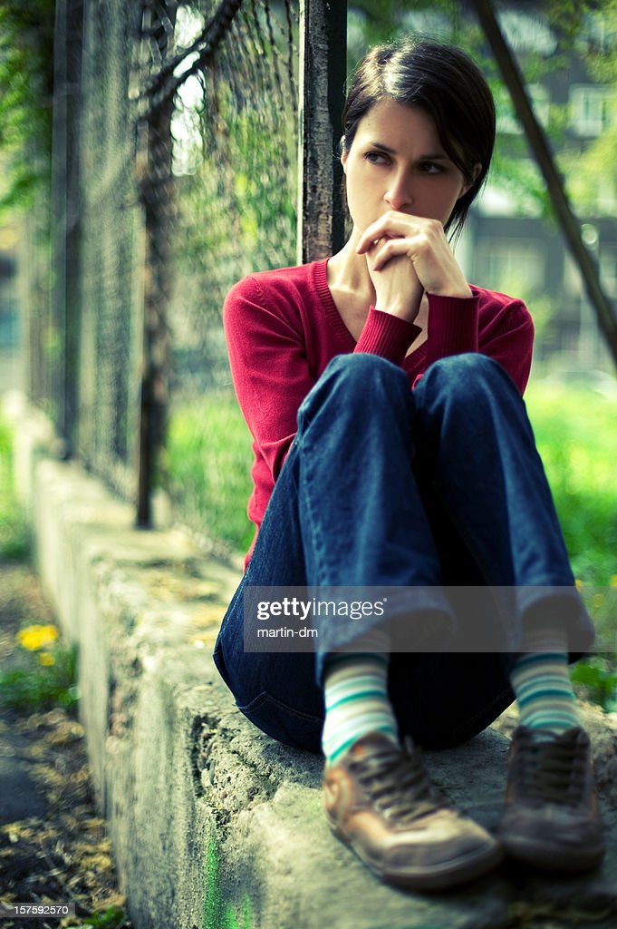 Lonely girl : Stock Photo