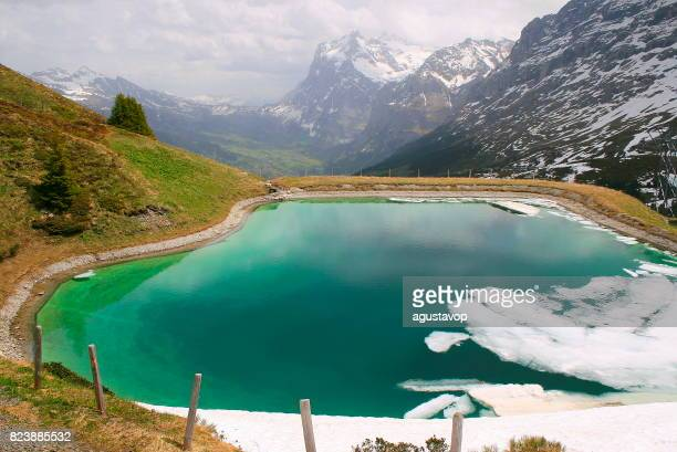 Lonely glacier lake aerial view near Gindelwald and Fary tale landscape: idyllic alpine valley and meadows, dramatic swiss snowcapped alps, idyllic countryside, Bernese Oberland,Swiss Alps, Switzerland