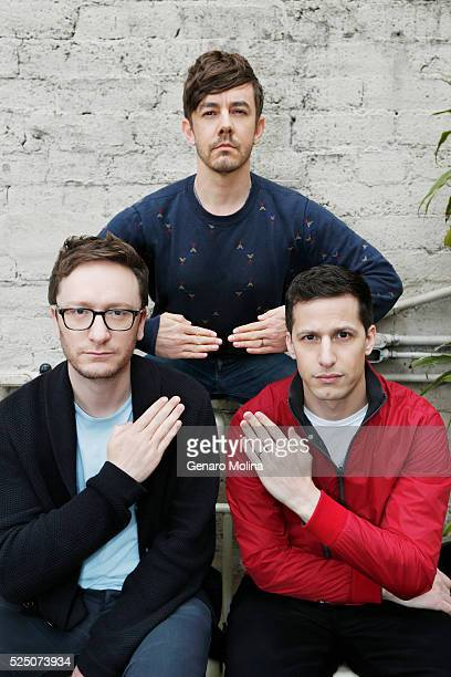 Lonely Island team Andy Samberg Jorma Taccone and Akiva Schaffer are photographed for Los Angeles Times on April 10 2016 in Los Angeles California...