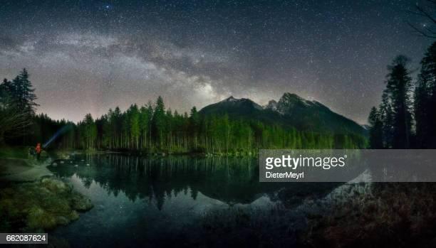 Lonely Man under Milky Way at Lake Hintersee - Alps