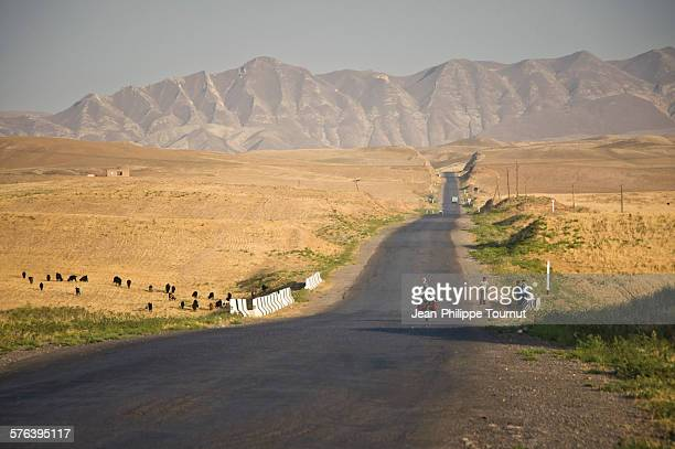 Lonely on the road in Central Asia