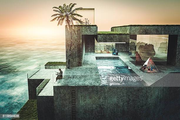 Lonely rich man reading newspaper in his holiday villa