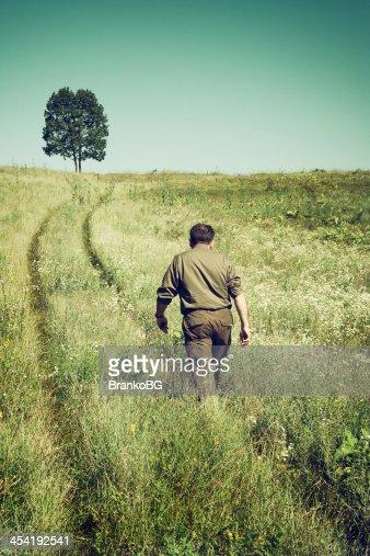 Estrada solitária em um campo : Foto de stock