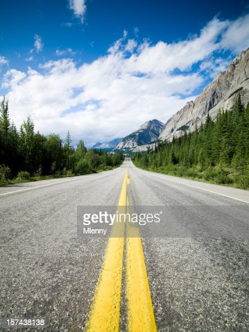 Lonely Road through the Rocky Mountains