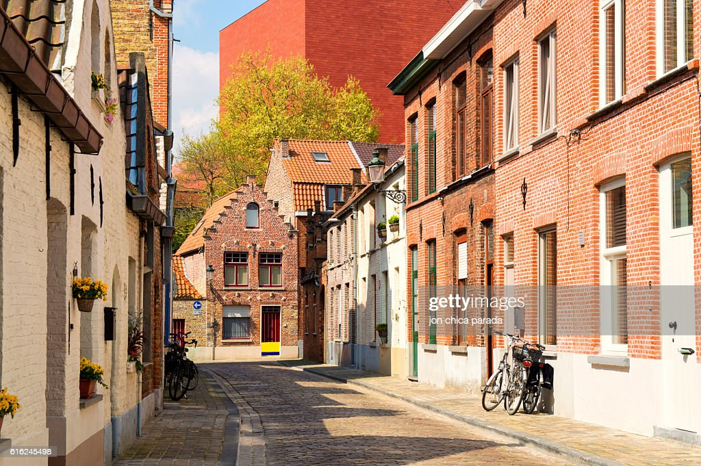 lonely street at brugges, belgium : Stock Photo