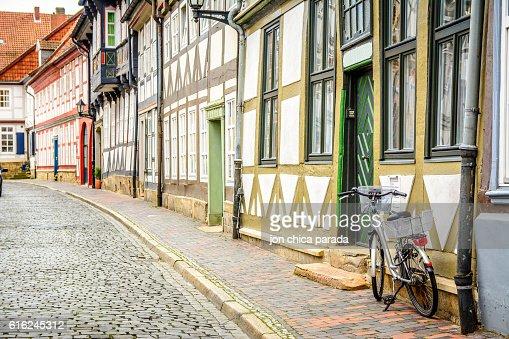 lonely street at goslar, germany : Foto de stock