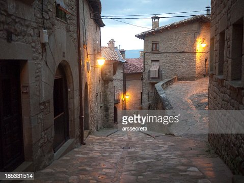 Lonely streets in medieval village