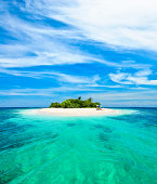 Small Tropical Island with Blue Sky and Ocean