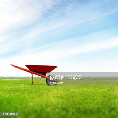 Lonely wheelbarrow in the meadow
