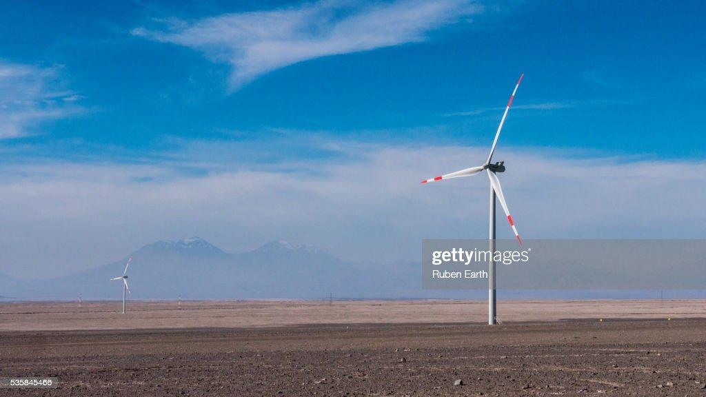 Lonely wind turbine in the Atacama desert