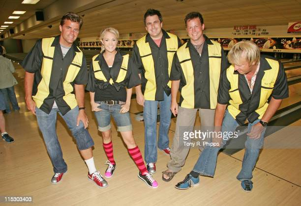 Lonestar and Carrie Underwood Richie Mcdonald Carrie Underwood Michael Britt Dean Sams and Keech Rainwater compare bowling shoes