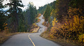 Windy road curves through autumn foliage in British Columbia
