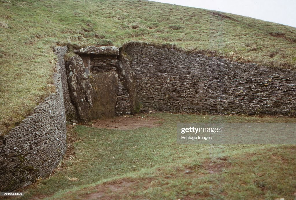 Long Barrow of Belas Knap near Winchcombe Gloucestershire 20th century A neolithic chambered long barrow situated on Cleeve Hill in Gloucestershire...