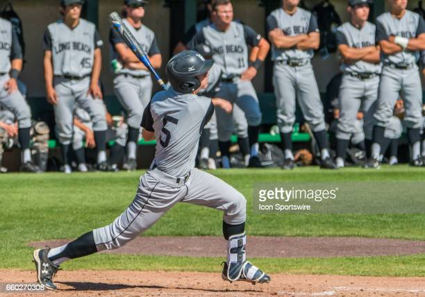 Long Beach St infielder Laine Huffman gets a hit during the regular season game between the Long Beach Dirt Bags and the Stanford Cardinals at...