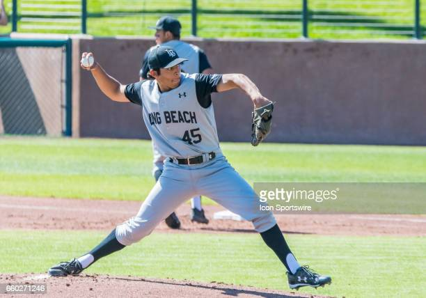 Long Beach St pitcher Sebastian Sanchez delivers a pitch during the regular season game between the Long Beach Dirt Bags and the Stanford Cardinals...