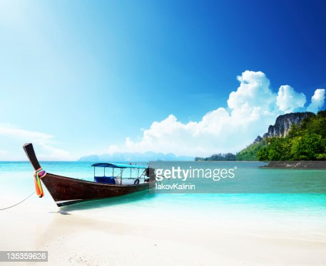 long boat and poda island in Thailand : Stock Photo