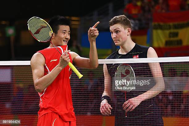 Long Chen of China celebrates after defeating Viktor Axelsen of Denmark during the Men's Singles Badminton Semifinal on Day 14 of the Rio 2016...
