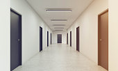 Long corridor with rows of closed doors. Concept of infinite opportunities for success and toughness of choice. 3d rendering. Toned image