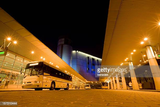 Long Distance Bus Station Illuminated at Night