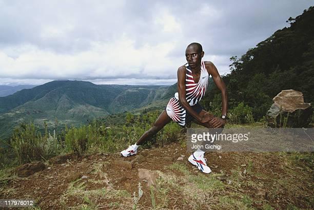 Long distance runner Daniel Kipngetich Komen training on 1st April 1997 in the Rift Valley Kenya