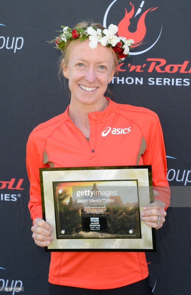 Long distance runner <a gi-track='captionPersonalityLinkClicked' href=/galleries/search?phrase=Deena+Kastor&family=editorial&specificpeople=240301 ng-click='$event.stopPropagation()'>Deena Kastor</a> wins first place at the Kaiser Permanente Rock 'n' Roll Half Marathon and Mini Marathon to benefit CureMito!at the Rose Bowl on February 17, 2013 in Pasadena, California.