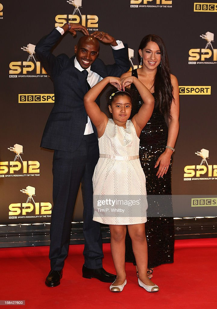 Long distance runner Mo Farah, wife Tania and daughter Rihanna attend the BBC Sports Personality of the Year Awards at ExCeL on December 16, 2012 in London, England.