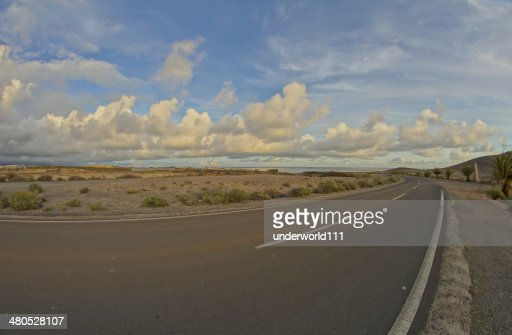 Long Empty Desert Road : Stock Photo